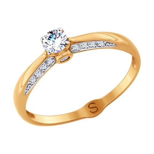 Кольцо из золота с фианитами (017971) - фото