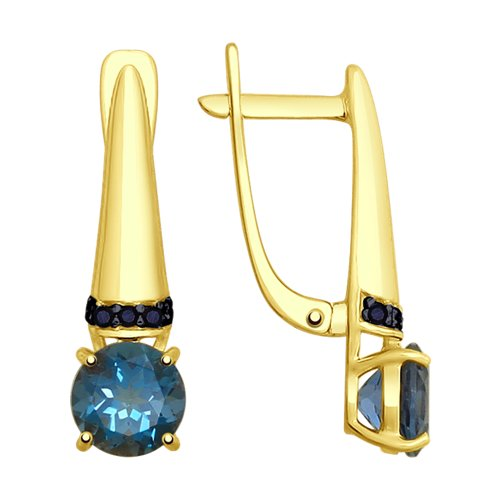 Серьги из желтого золота с топазами и  (725265-2) - фото