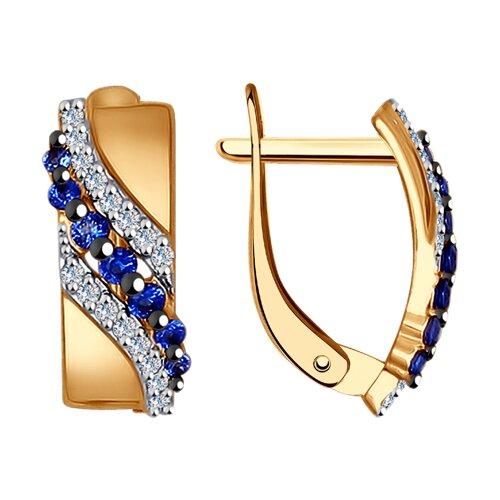 Серьги из золота с бесцветными и синими фианитами