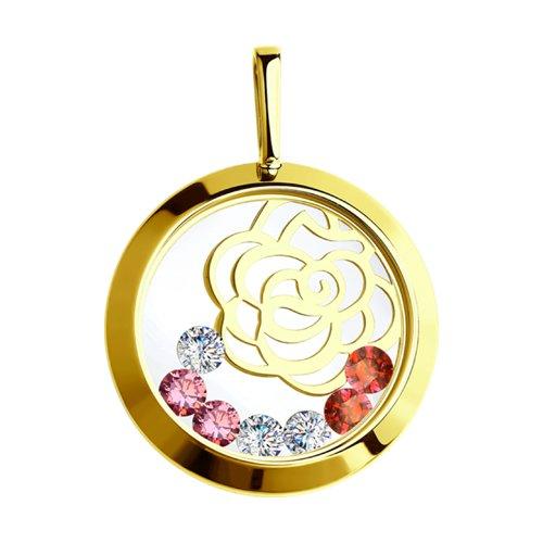Подвеска из желтого золота с минеральным стеклом и бесцветными, красными и розовыми фианитами (035076-2) - фото