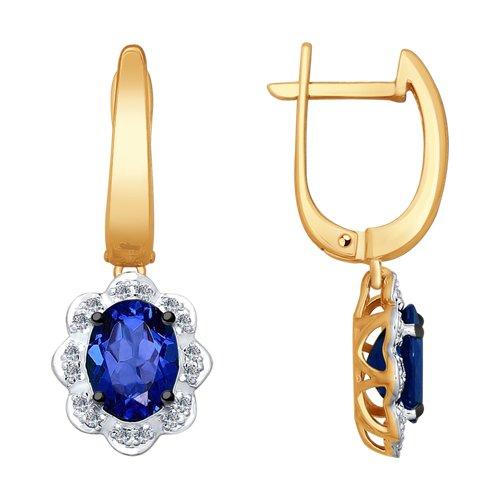 Серьги из золота с бриллиантами и корундами (синт.) (6022125) - фото