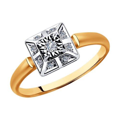 Кольцо из комбинированного золота с бриллиантами (1011797) - фото