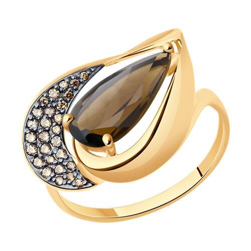 Кольцо из золота с раухтопазом и жёлтыми фианитами (714808) - фото