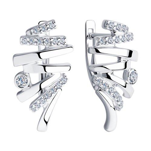 Серьги из серебра с фианитами (94023728) - фото №2