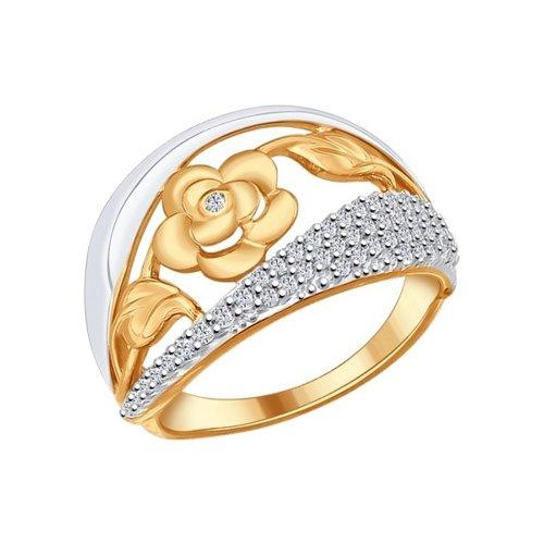 Кольцо из золочёного серебра с фианитами (93010572) - фото