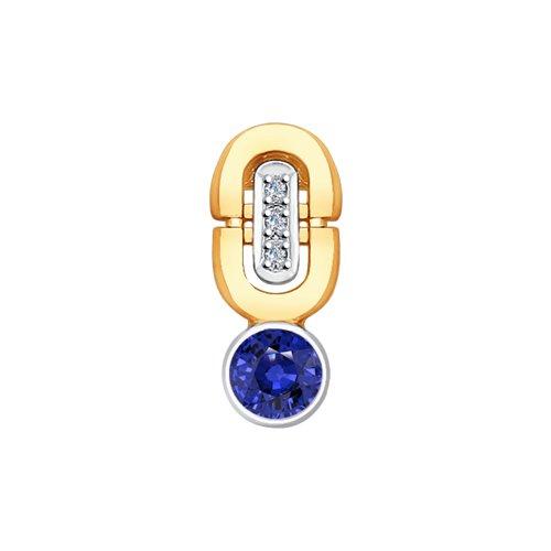 Подвеска из золота с бриллиантами и сапфиром (2030250) - фото