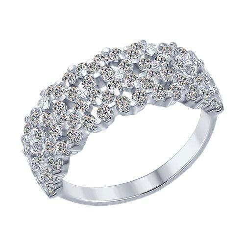 Кольцо из серебра с фианитами (94012284) - фото