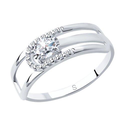 Кольцо из серебра с фианитами (94012744) - фото