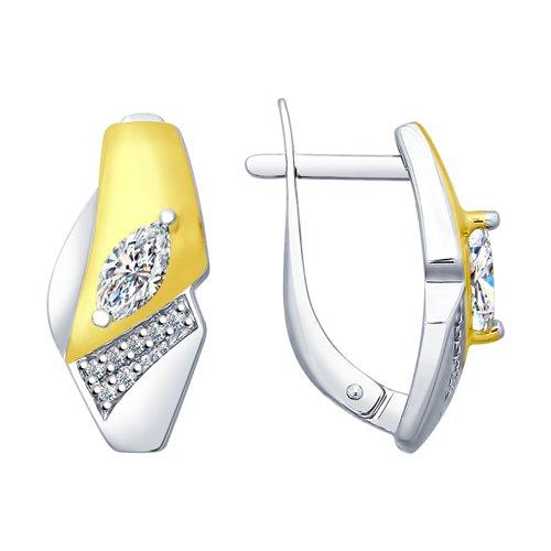 Серьги из золочёного серебра с фианитами (94022609) - фото