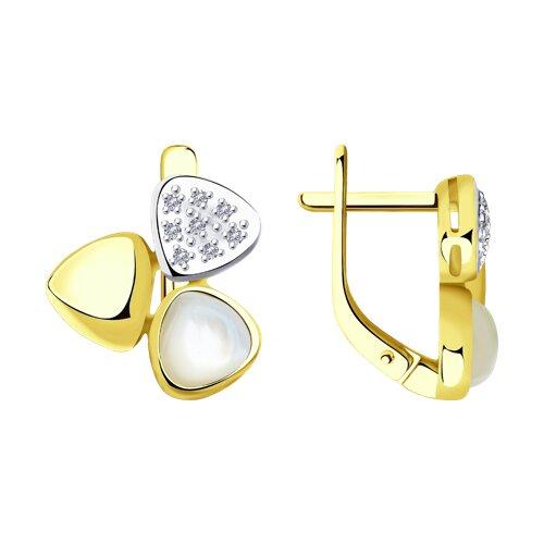 Серьги из желтого золота с бриллиантами и перламутром
