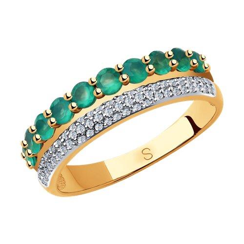 Кольцо из золота с бриллиантами и агатами 6013052 sokolov фото