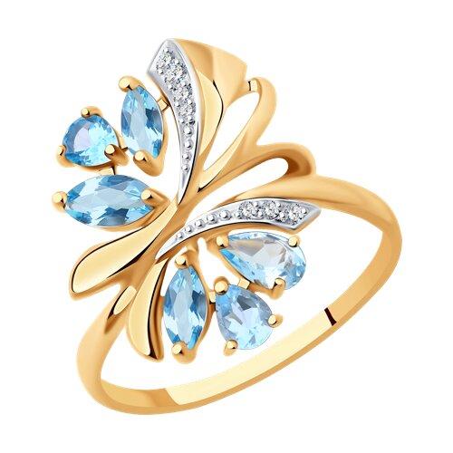 Кольцо из золота с топазами и фианитами (714736) - фото
