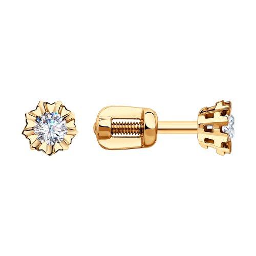 Серьги-пусеты из золота с бриллиантами (1020399) - фото
