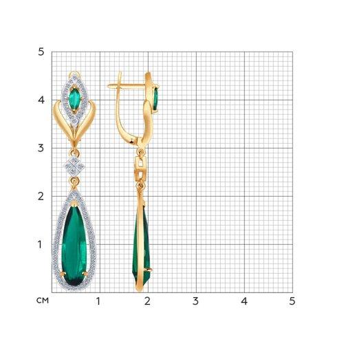 Серьги длинные из золота с бриллиантами и гидротермальным изумрудом (синт.) (6027003) - фото №2