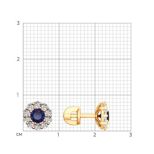 Серьги из золота с синими корунд (синт.) и фианитами 725724 SOKOLOV фото 2
