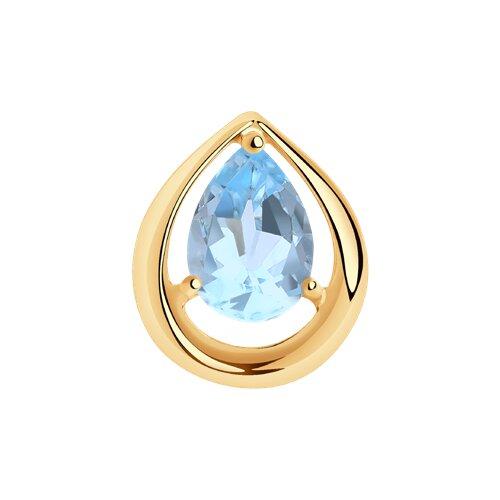 Подвеска из золота с голубым топазом (731397) - фото