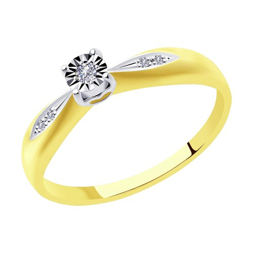 Кольцо из комбинированного золота с бриллиантами (1011529-2) - фото