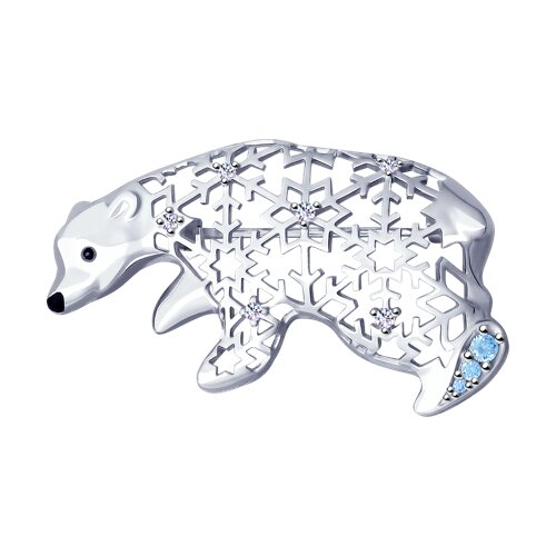 Брошь из серебра с эмалью и фианитами (94040142) - фото