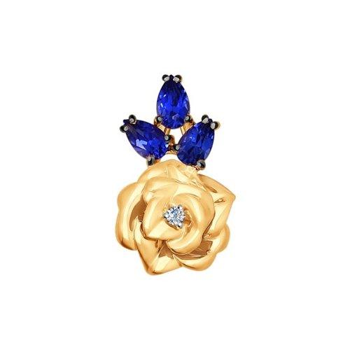 Подвеска «Роза» из золота с бриллиантом и корундами сапфировыми