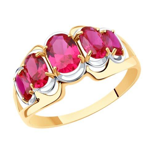 Кольцо из золота с корундами рубиновыми (синт.) (714437) - фото