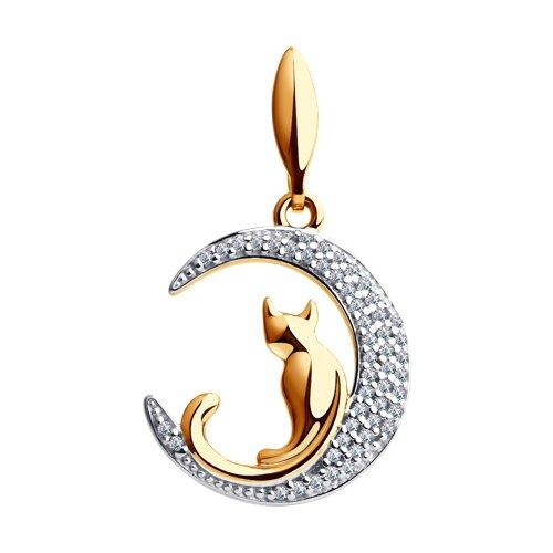 Подвеска «Кошечка на луне» из золота с фианитами (034577) - фото