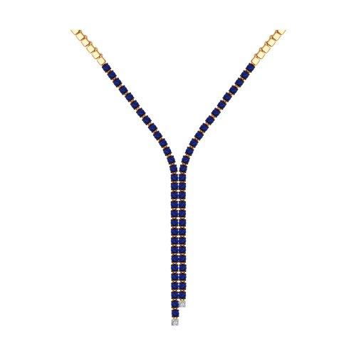 Колье из золота с бриллиантами и синими корунд (синт.) (6072004) - фото