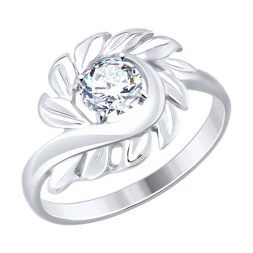 Кольцо из серебра с фианитом (94012476) - фото