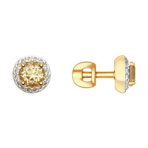 Серьги из золота с топазами Swarovski и жёлтыми Swarovski Zirconia (725297) - фото
