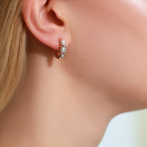Серьги из комбинированного золота с бриллиантами 1021132 SOKOLOV фото 4