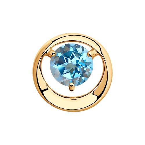 Подвеска из золота с голубым топазом