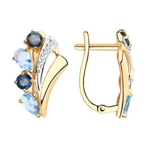 Серьги из золота с голубыми и синими топазами и фианитами (725939) - фото