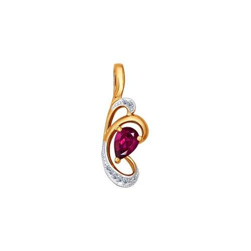 Подвеска c грушевидным рубином и бриллиантами