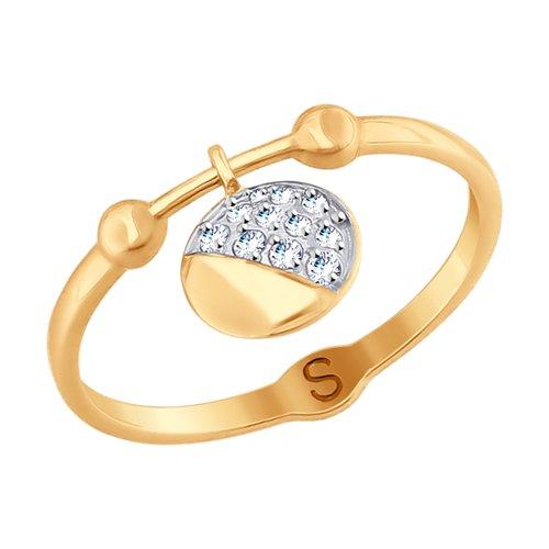 Кольцо из золота с фианитами (017692) - фото