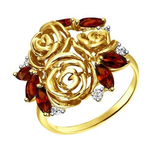 Кольцо из желтого золота с гранатами и фианитами (51712418) - фото