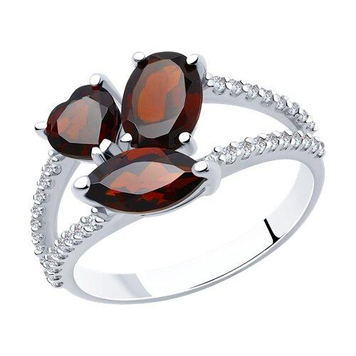 Кольцо из серебра с гранатами и фианитами (92010923) - фото