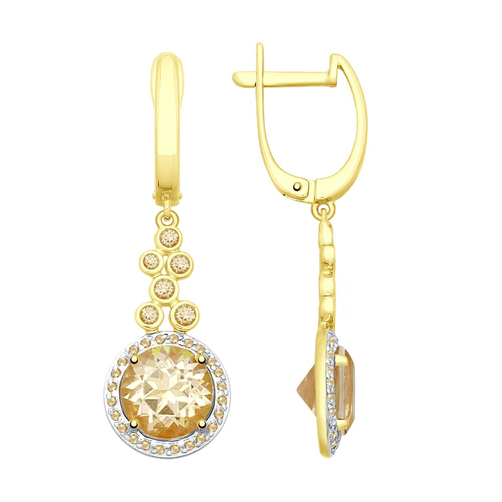 Серьги SOKOLOV из желтого золота с топазами Swarovski и фианитами Swarovski недорого
