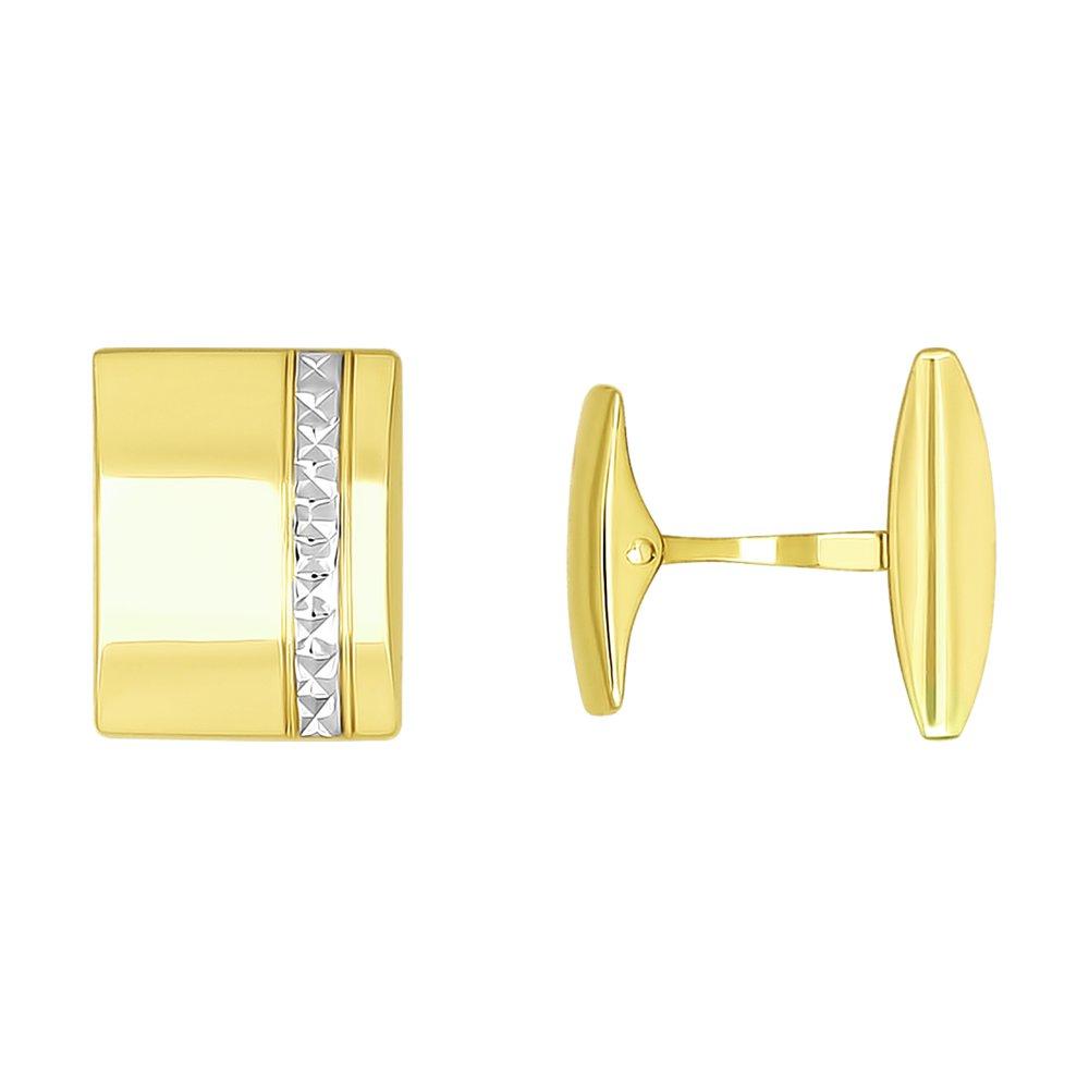 Запонки SOKOLOV из желтого золота с алмазной гранью запонки sokolov из серебра с эмалью алмазной гранью карбоном и фианитами