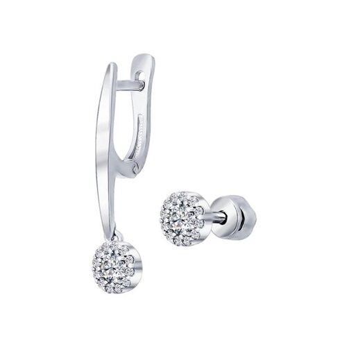 Серьги из серебра с фианитами (94021886) - фото