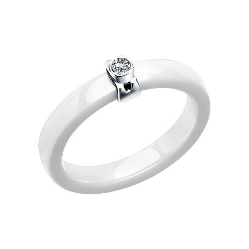 Керамическое кольцо с серебром и фианитом SOKOLOV повязка атрауман с серебром 10 х 10 см n 10