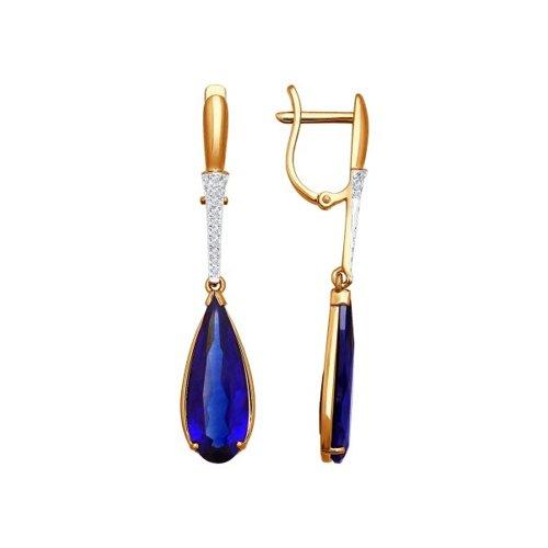 Серьги длинные из золота с бриллиантами и корундами сапфировыми (синт.)