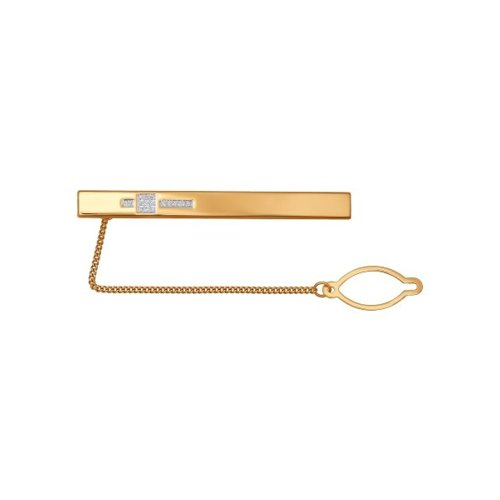 Золотой зажим для галстука с фианитами выложенными в узор