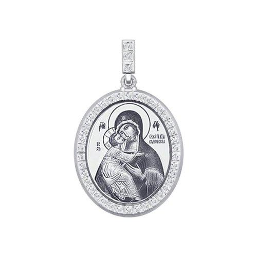 Серебряная нательная иконка «Икона Божьей Матери Владимирская»