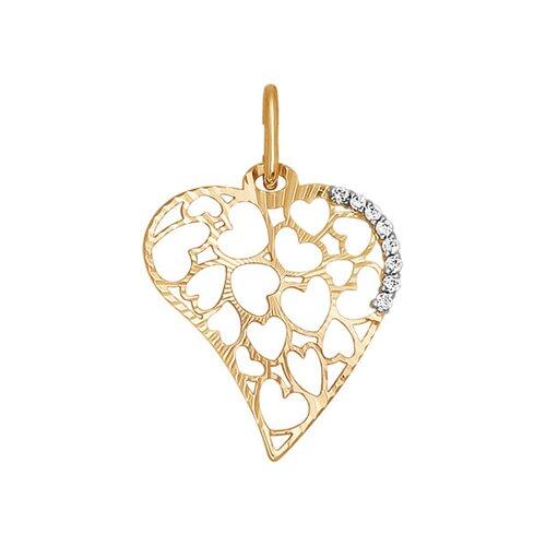 Подвеска «Сердце» с алмазной гранью SOKOLOV
