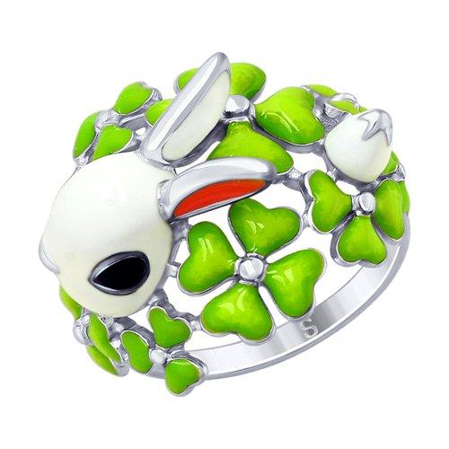 Серебряное кольцо «Кролик» с эмалью