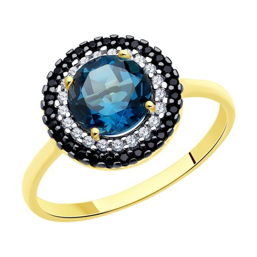 Кольцо из желтого золота с синим топазом и фианитами (714973-2) - фото