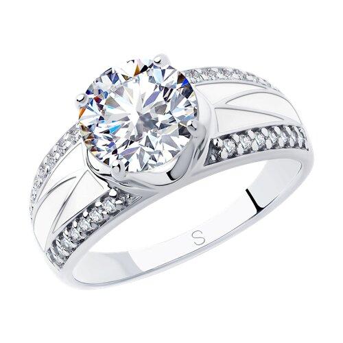 Кольцо из серебра с эмалью и фианитами (94012928) - фото