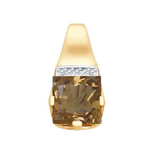 Подвеска из золота с раухтопазом и фианитами
