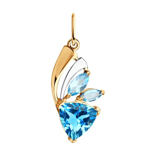 Подвеска из золота с голубыми топазами
