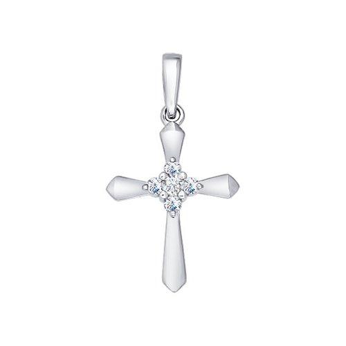 Крест из белого золота украшенный пятью бриллиантами