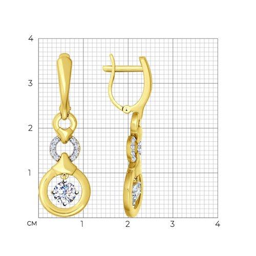 Серьги из желтого золота с фианитами (026977-2) - фото №2